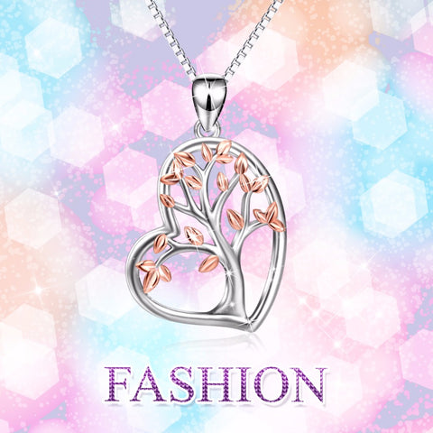 PYX0446 2017 New 925 Sterling Silver Tree Of Life Love Heart Pendants Necklaces Charming Jewelry & Accessories For Women