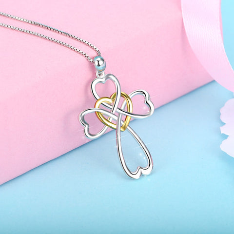 PYX0701 100% Fine 925 Sterling Silver Love Heart Cross Pendants Necklaces Infinity Love Necklace Religiious Jewelry For Women