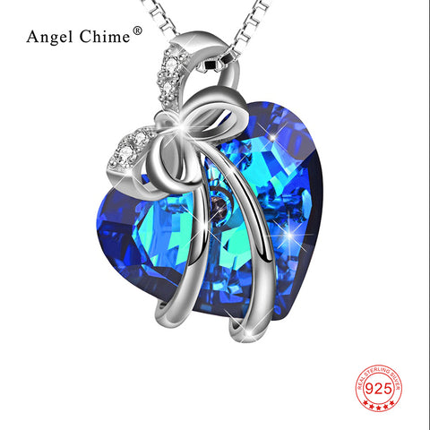 Pure 925 Sterling Silver Statement Necklace Blue Heart of Ocean Pendant Necklaces Crystal Bow-knot Kolye Jewelry For Women
