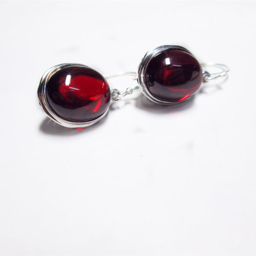 S925 silver jewelry wholesale ladies hollow agate eardrop series Yellow Green Red Garnet Earrings