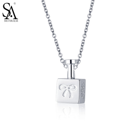 SA SILVERAGE 925 Sterling Silver Star Long Necklaces Pendants for Women Fine Jewelry  Silver Perfume Bottle Pendant Necklace