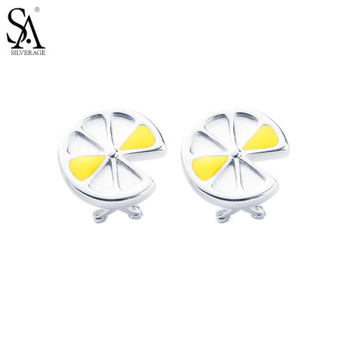 SA SILVERAGE Solid 925 Sterling Silver Lemon Stud Earrings for Women Fine Jewelry Yellow US Domestic Sale