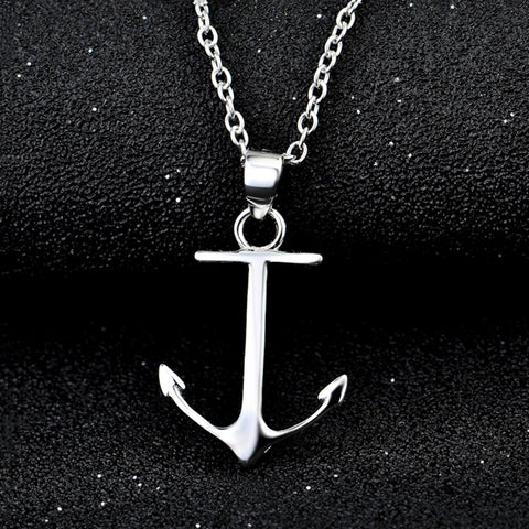 Simple Anchor Pendant  925 Sterling Silver Statement Collier Necklace Women Fashion Jewelry Collares Mujer GND0848X