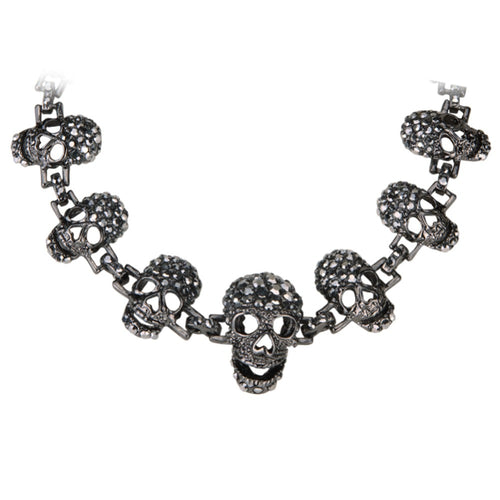 Skull skeleton choker necklace women biker jewelry gifts antique silver color W crystal ZN02 wholesale dropshipping