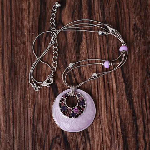 Snuoy Hot Selling Bohemia Purple Rhinestone Round Charm Pendant Beads Necklace Long Chain For Women Girls Gift Best Discount