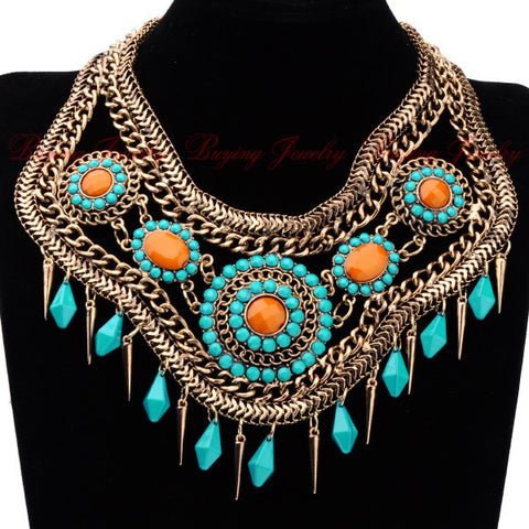 Special Designer Women Jewelry Vintage Bronze Blue/ Black Hollow Resin Chain Chunky Cluster Choker Drop Necklace