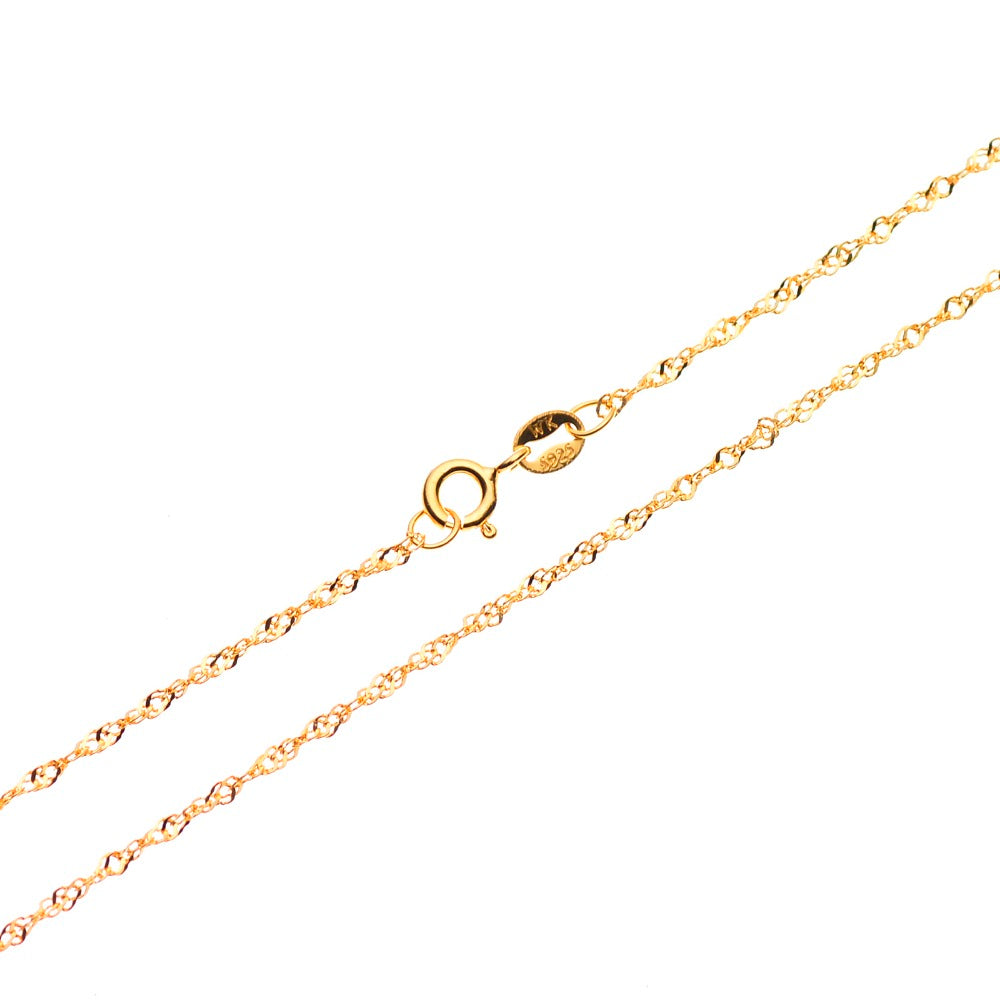 "Sterling Silver Twisted Singapore Chain Necklace - 18 Karat Gold Over Fashion Jewelry Women Accessories, 1mm Wide, 16""-30"" Long"