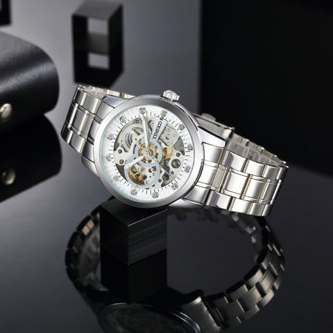 TIME100 Fashion Men's Mechanical Self Wind Skeleton Watch Stainless Steel Strap Business Casual Wrist Watches Clock
