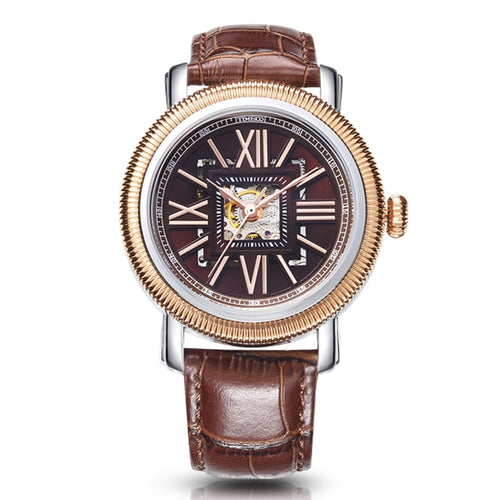 Time100 Men's Mechanical watches Automatic Self-Wind Double Skeleton Dial Business Watches Leather band Wrist Watch For Men