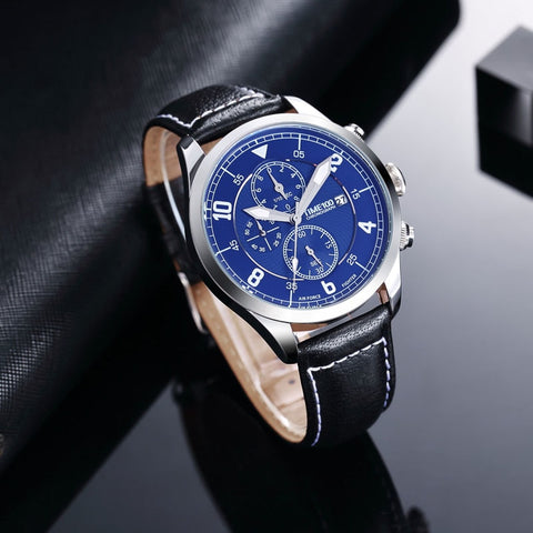 Time100 new Fashion Watch Men Multifunction Leather Strap men Quartz Watches Calendar Auto Date Business Casual Wrist Watches