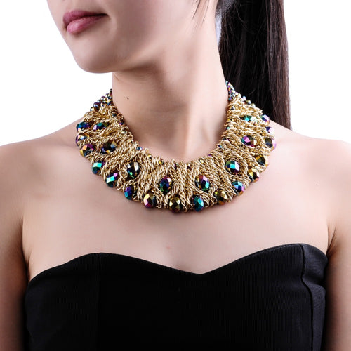 Top New Spring-Summer Design Fashion Jewelry Free Shipping Gold Chain White Crystal Bib Statement Necklace