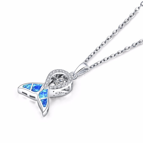 Trendy big star brand Pendants Fine Silver jewelry Blue Fire Opal WhaleTail Dancing Natural Topaz Pendant Silver Chain Best Gift
