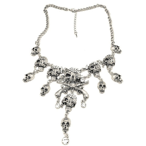 Vintage Silver Metal Cool Rhinestone Skull Classic Maxi Necklace European Punk Mutiple Skeleton Skulls Necklaces Free Shipping