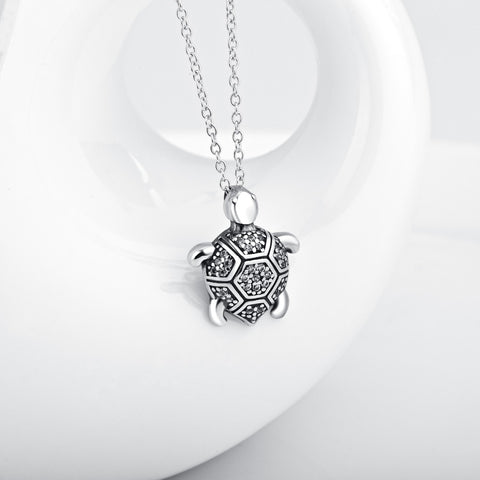 Vintage Turtle Crystal CZ Pendant 925 Sterling Silver Statement Necklaces Tortoise Choker Jewelry For Women