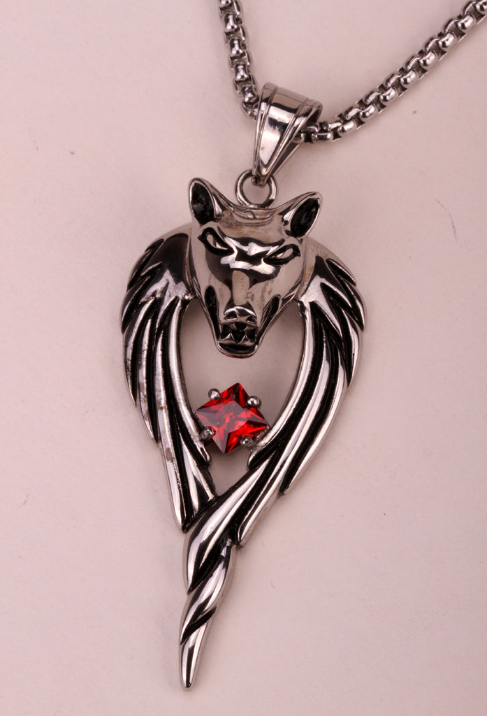 Wolf stainless steel necklace 316L pendant W chain christmas holiday jewelry gifts for men women wholesale dropshipping HN01