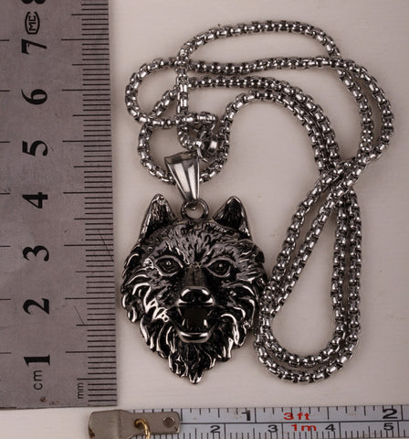 Wolf stainless steel necklace pendant for men women 316L pendant W chain biker heavy jewelry wholesale dropshipping GN36