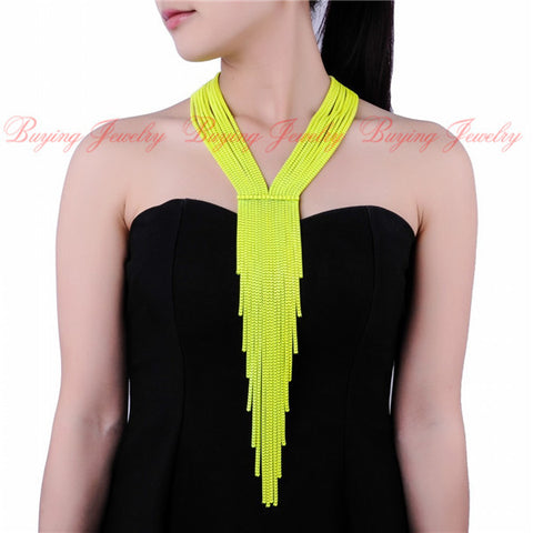 Women Evening Dress Hlidays Fashion Jewelry Bubble Chains Neck Bib Collar Chokers Long Snake Chain Statement Necklace
