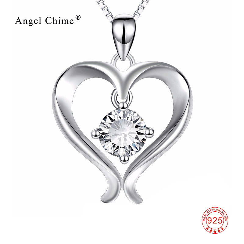 Women Fashion AAA Cubic Zirconia Love Heart 925 Sterling Silver Pendant Statement Necklaces Collier Kolye Gift For Female