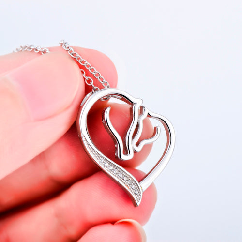 Women Fashion CZ Crystal Heart Horse Pendant Collar Necklace 925 Sterling Silver Collier Statement Necklace Kolye bijoux coeur