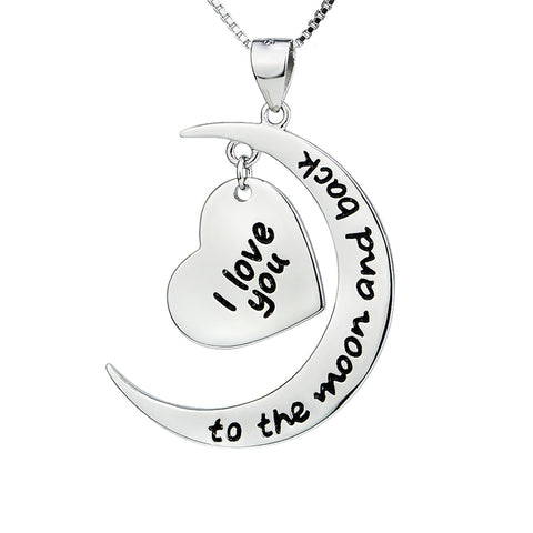 Women Fashion I Love You to The Moon and Back Lettered Pendant 925 Sterling Silver Collier Statement Necklace Jewelry Gift