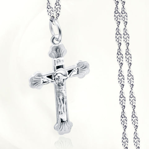 Women Men Cross  Pendant Necklace 925 Sterling Silver Jesus Craved God Blessing Crucfix Necklace Jewelry Kolye