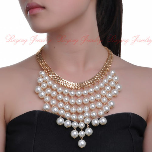 Women New Fashion Style Golden Chain 3 Colors Beads Choker Bib Jewelry Pendant Necklace