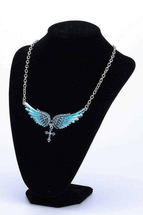 YACQ Angel Wing Cross Choker Necklace Guardian Women Biker Crystal Jewelry Gifts Her Girl Silver Color NC01 Dropshipping (18+2)""