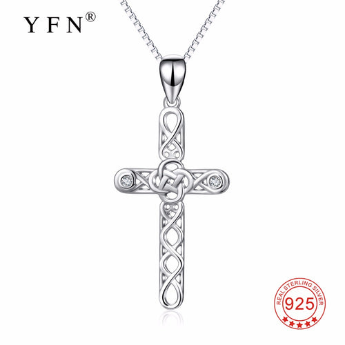 YFN 925 Sterling Silver Cross Necklace Knot Infinity Love Crystal Religious Pendants Necklaces Lucky Jewelry For Women PYX0302