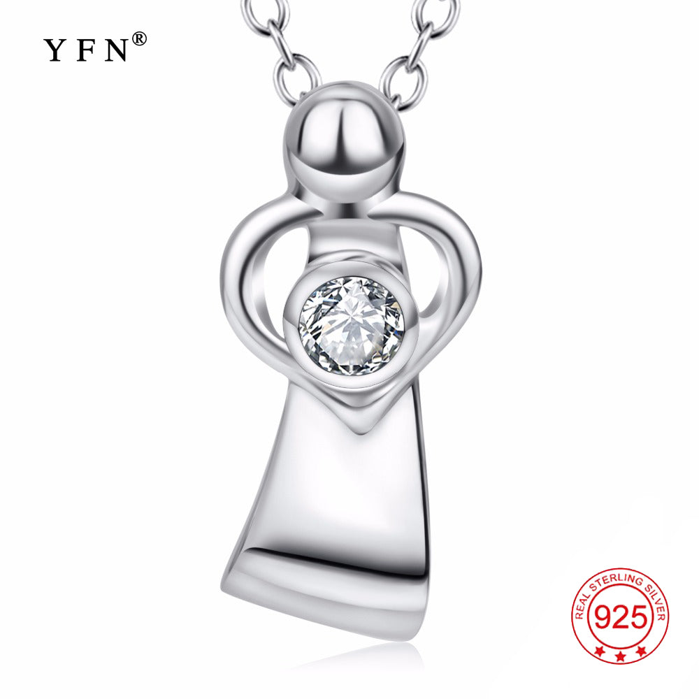 YFN 925 Sterling Silver Mother Love Pendants Necklaces Mom & Child Love Heart Crystal Necklace Fashion Jewelry For Women