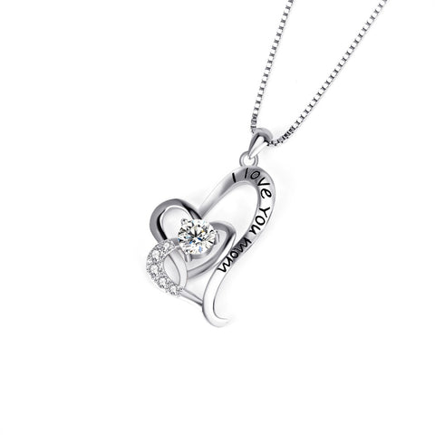 YFN Brand 925 Sterling Silver Pendants Necklaces For Mother's Day Gifts Rhinestone Love Heart Fashion Jewelry I Love You Mom