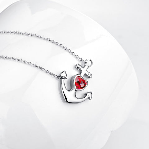 YFN Genuine 925 Sterling Silver Anchor Necklace Red Cubic Zirconia Pendants Necklaces Romantic Choker Jewelry Gift For Women
