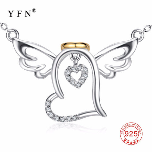 YFN Genuine 925 Sterling Silver Angel Wings Necklace Crystal Love Heart Pendants Necklaces New Arrival Jewelry Choker For Women