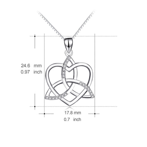 YFN Genuine 925 Sterling Silver Crystal Lucky Knot Love Heart Pendants Necklaces For Women Fashion Necklace Jewelry GNX14117