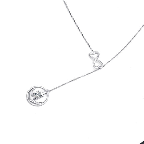 YFN Genuine 925 Sterling Silver Cubic Zirconia Anchor Fashion Necklace Infinity Love Pendants Necklaces Jewelry Gift For Women