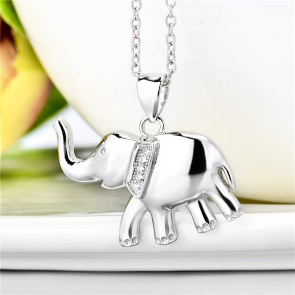 YFN Genuine 925 Sterling Silver Elephant Pendants Necklaces Fashion Jewelry Cubic Zirconia Necklace For Women Collares GNX0456