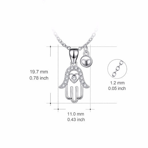 YFN Genuine 925 Sterling Silver Hamsa Hand Crystal Pendants Necklaces Hand Of Fatima Jewelry Fashion Gift For Women PYX0189