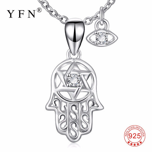YFN Genuine 925 Sterling Silver Hamsa Hand Evil Eye Pendants Necklaces Hand Of Fatima Nazar Choker Jewelry Gift For Women
