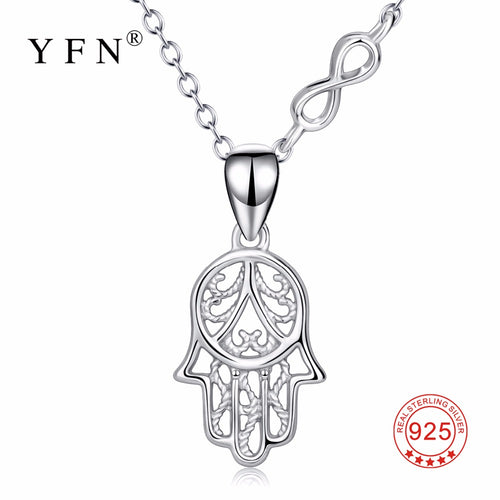 YFN Genuine 925 Sterling Silver Hamsa Hand Infinity Love Pendants Necklaces Hand Of Fatima Lucky Fashion Jewelry For Women