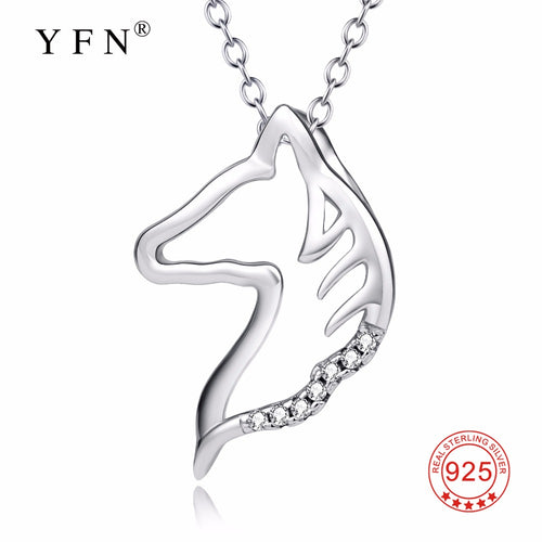 YFN Genuine 925 Sterling Silver Horse Head Pattern Necklace Sweet Crystal Hollow Pendants Necklaces Christmas Gifts For Women