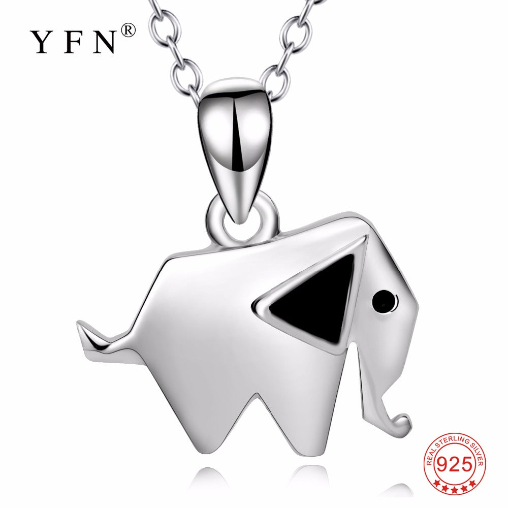 YFN Genuine 925 Sterling Silver Hot Sale Necklace Lucky Elephant Pendants Necklaces Geometric Shape Animal New Jewelry For Women
