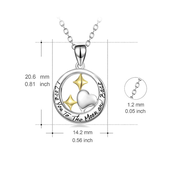 YFN Genuine 925 Sterling Silver I Love You To The Moon And Back Pendants Necklaces Star Love Heart Fashion Jewelry For Women