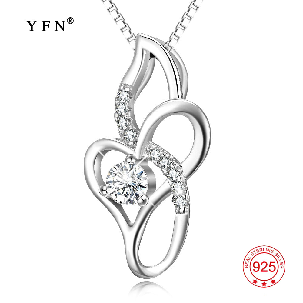 YFN Genuine 925 Sterling Silver Infinity Love Necklace Cubic Zirconia Pendants Necklaces Fashion Women Jewelry Christmas Gifts