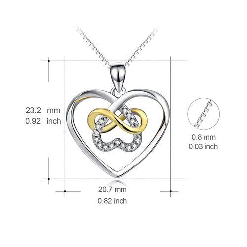 YFN Genuine 925 Sterling Silver Infinity Love Necklace Love Heart Crystal Pendants Necklaces Fashion Christmas Gift For Women