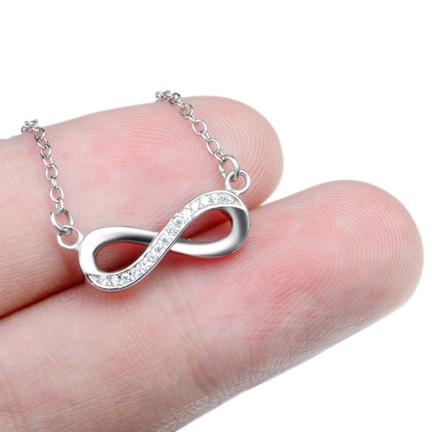 YFN Genuine 925 Sterling Silver Infinity Love Pendants Necklaces Women Jewelry CZ Crystal Bowknot Collares Necklace GNX0060