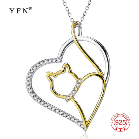 YFN Genuine 925 Sterling Silver Jewelry Crystal Heart Pendants Necklaces With Gold Color Cat Valentine's Gifts For Women GNX9867