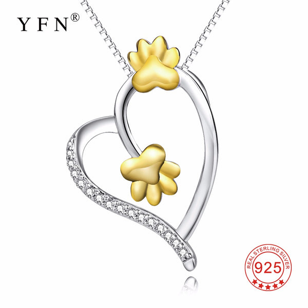 YFN Genuine 925 Sterling Silver Love Heart Crystal Pendants Necklaces Gold Animal Paw Print Lovely Necklace Jewelry For Women