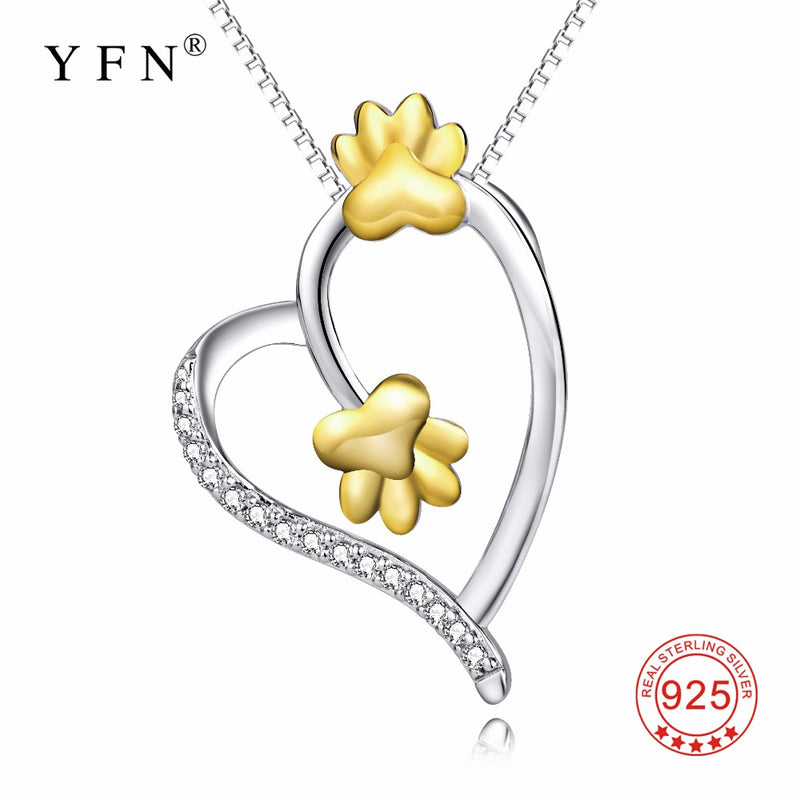 Yfn genuine 925 sterling silver love heart crystal pendants necklaces aloadofball Choice Image