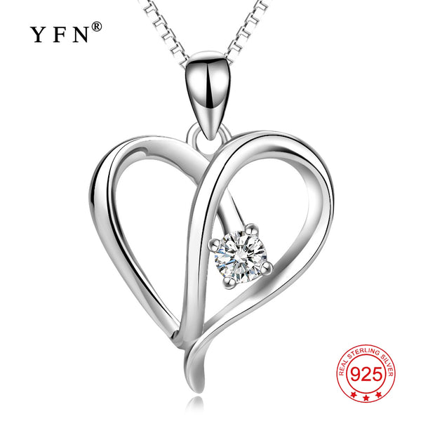 YFN Genuine 925 Sterling Silver Love Heart Cubic Zirconia Hollow Pendants Necklaces Simple Necklace New Jewelry For Women