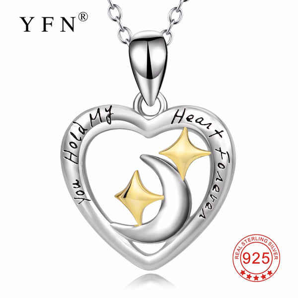 "YFN Genuine 925 Sterling Silver Love Heart Moon Star Pendants Necklaces ""You Hold My Heart Forever"" New Jewelry For Women"