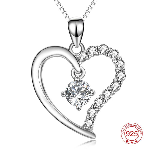 YFN Genuine 925 Sterling Silver Love Heart Necklace Cubic Zirconia Pendants Necklaces Fashion Jewelry For Women Best Gift